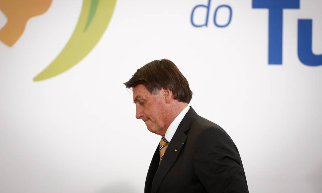 O presidente Jair Bolsonaro: aliados pedem que ele fique longe do segundo turno para evitar desgastes Foto: Pablo Jacob / Agência O Globo