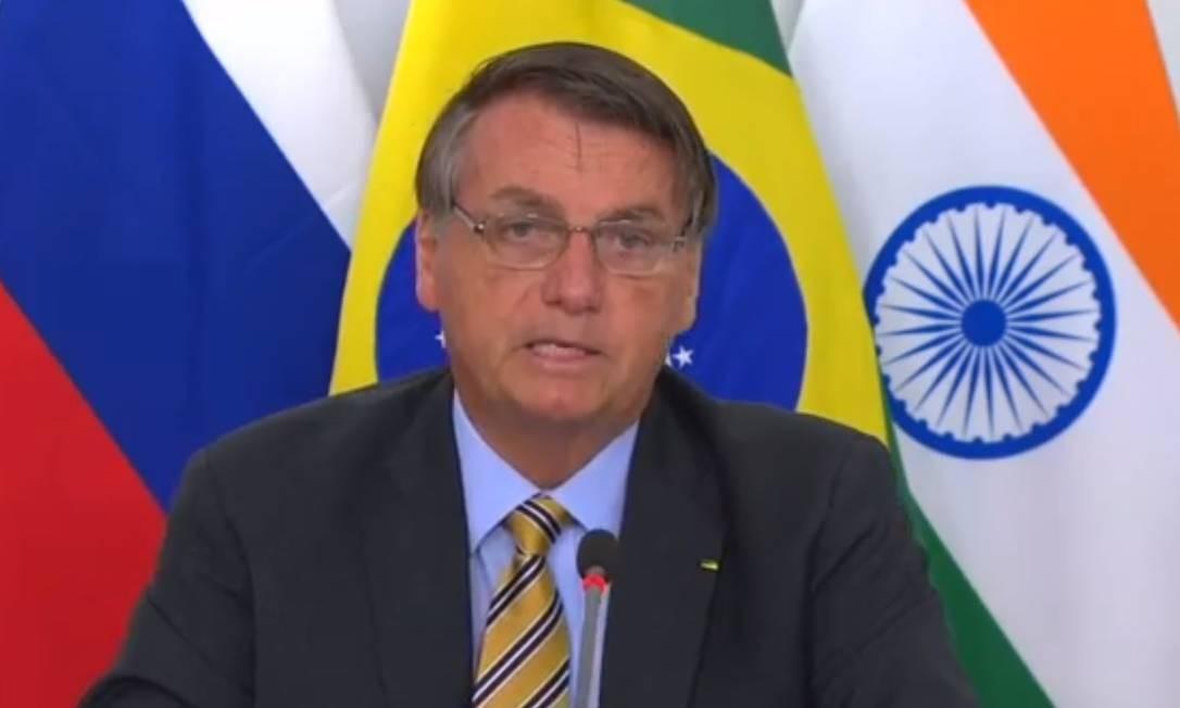 O presidente Jair Bolsonaro participa de cúpula virtual do Brics Foto: Reprodução