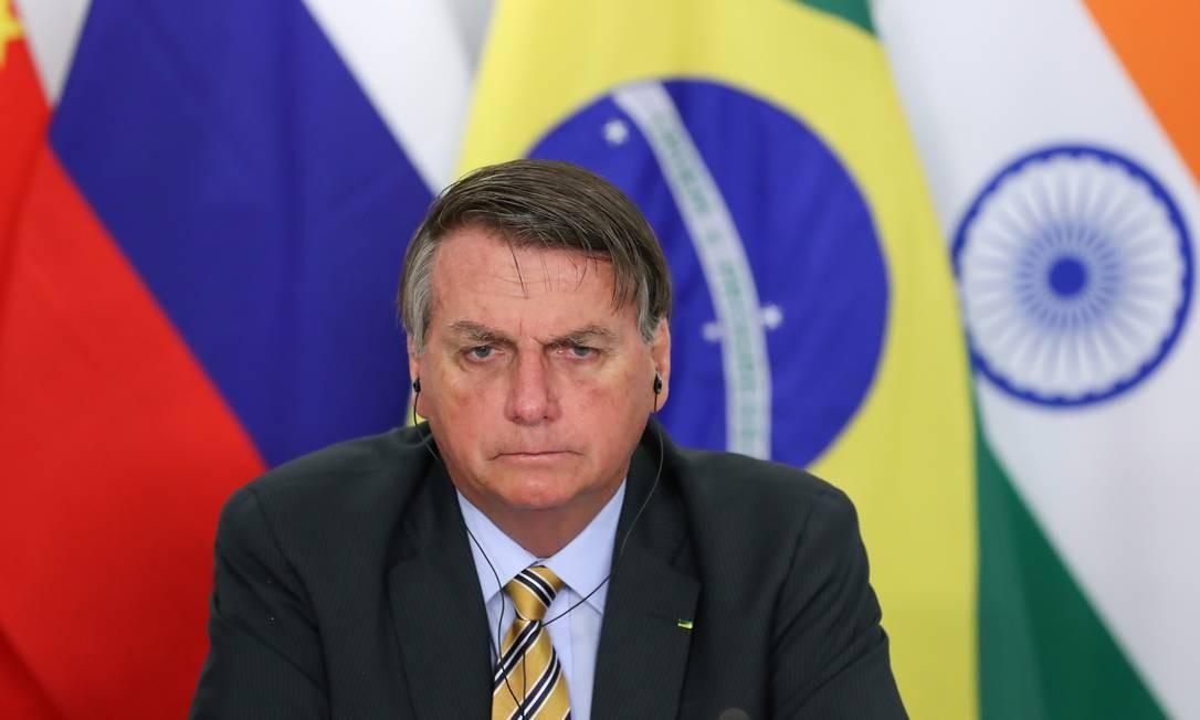 Presidente Jair Bolsonaro durante cúpula virtual do Brics Foto: MARCOS CORREA / VIA REUTERS