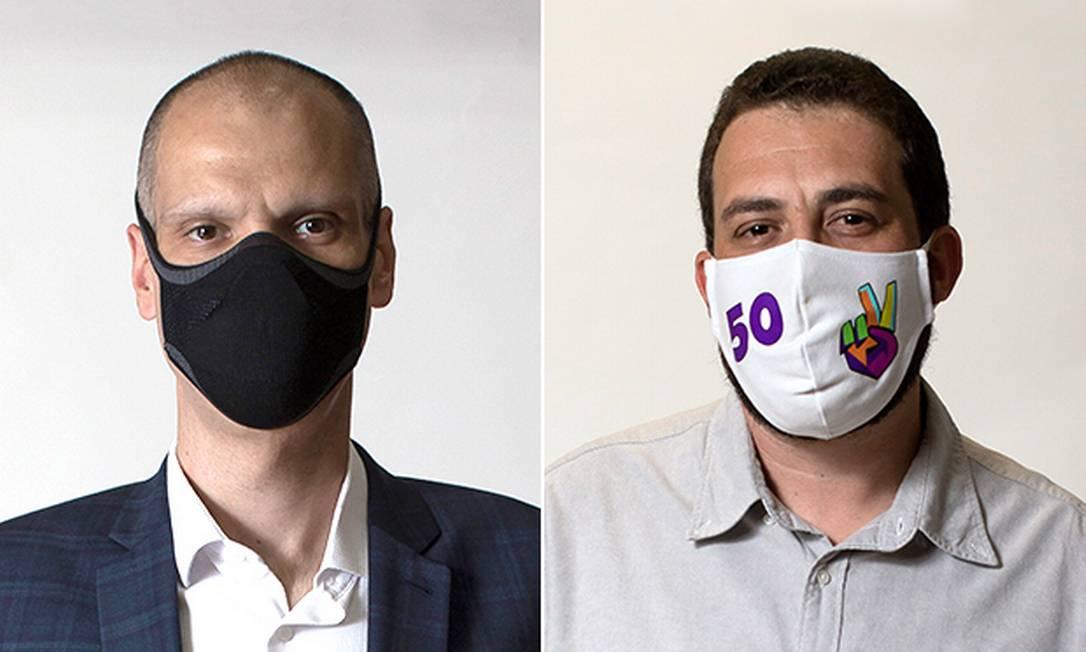 Os candidatos à Prefeitura de São Paulo Bruno Covas (PSDB) e Guilherme Boulos (PSOL) Foto: Editoria de Arte
