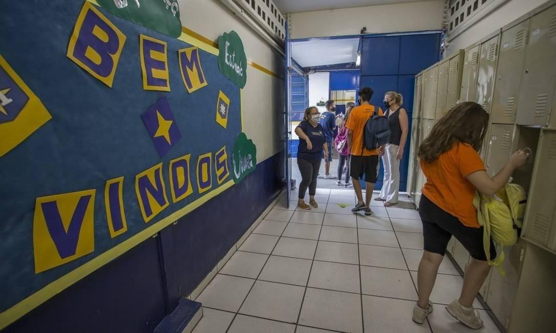 Escola Estadual Milton da Silva Rodrigues, na Zona Norte de São Paulo, voltou às aulas durante a pandemia Foto: Edilson Dantas / Agência O Globo / 7-10-2020