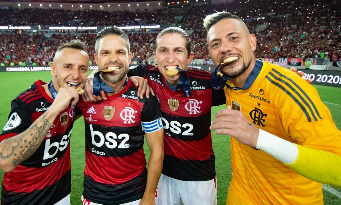 Rafinha, Diego, Filipe Luis e Diego Alves, a geração 85 Foto: Divulgação Flamengo - Alexandre Vidal