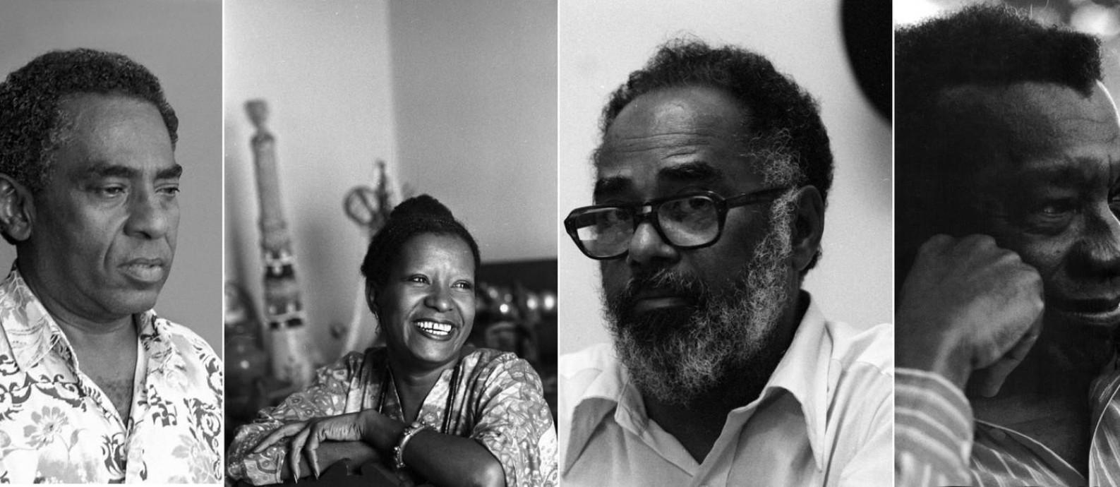 Joel Rufino dos Santos, Lélia Gonzalez, Abdias do Nascimento e Milton Santos: intelectuais negros que pensaram o Brasil Foto: Montagem