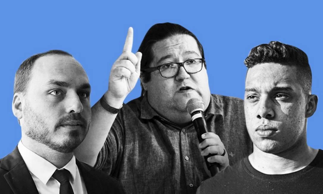 Carlos Bolsonaro (Republicanos), Tarcísio Motta (PSOL) e Gabriel Monteiro (PSD): os três vereadores eleitos mais votados do Rio Foto: Editoria de Arte