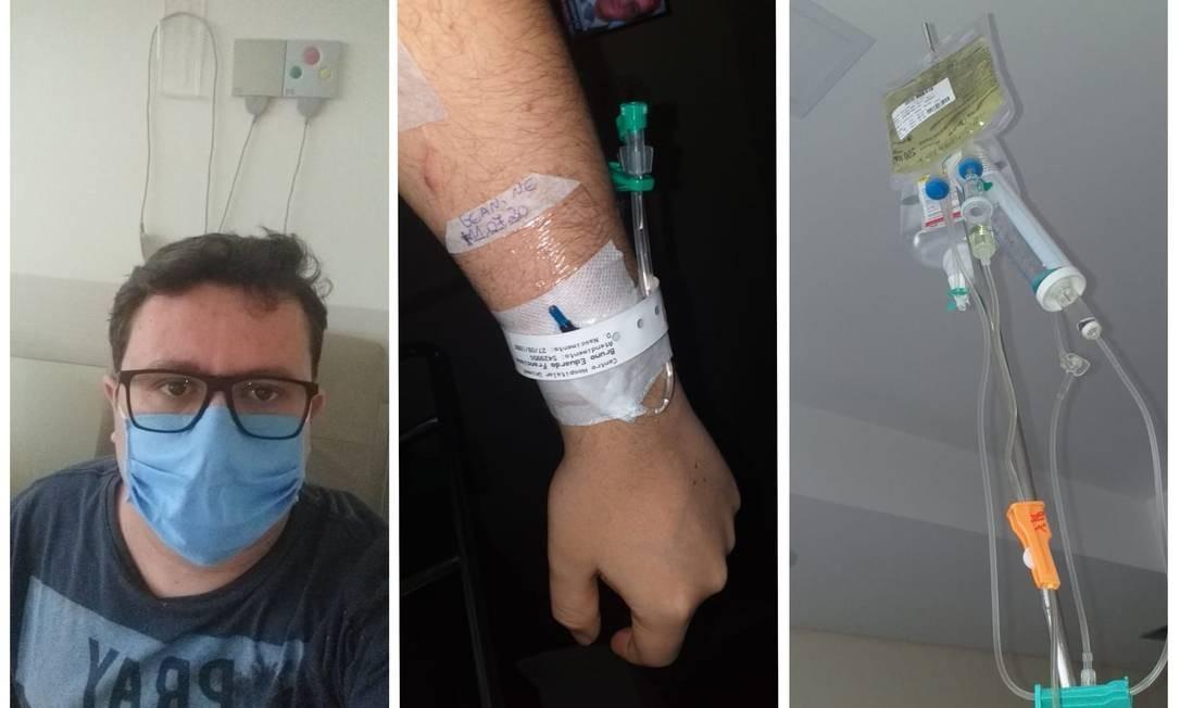 Fotos tiradas no hospital pelo gestor financeiro Bruno Eduardo Francisco, portador de asma grave que contraiu Covid-19 em um episódio de internação em Joinville (SC) Foto: arquivo pessoal