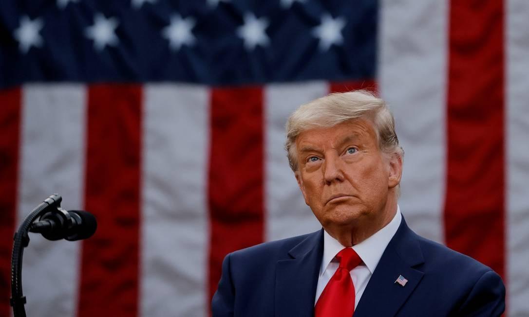 Presidente Donald Trump durante pronunciamento nos jardins da Casa Branca, em Washington Foto: CARLOS BARRIA / REUTERS / 13-11-2020