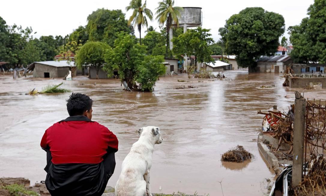 """TOPSHOT - Um homem e seu cachorro observam uma área inundada em El Progreso, no departamento hondurenho de Yoro, em 18 de novembro de 2020, após a passagem do furacão Iota, agora rebaixado para tempestade tropical. - A tempestade Iota, que atingiu a Nicarágua como um furacão """"catastrófico"""" de categoria 5 na segunda-feira, matou pelo menos dez pessoas ao destruir casas, arrancar árvores e inundar estradas durante seu avanço destrutivo pela América Central. (Foto por STR / AFP) Foto: STR / AFP"""