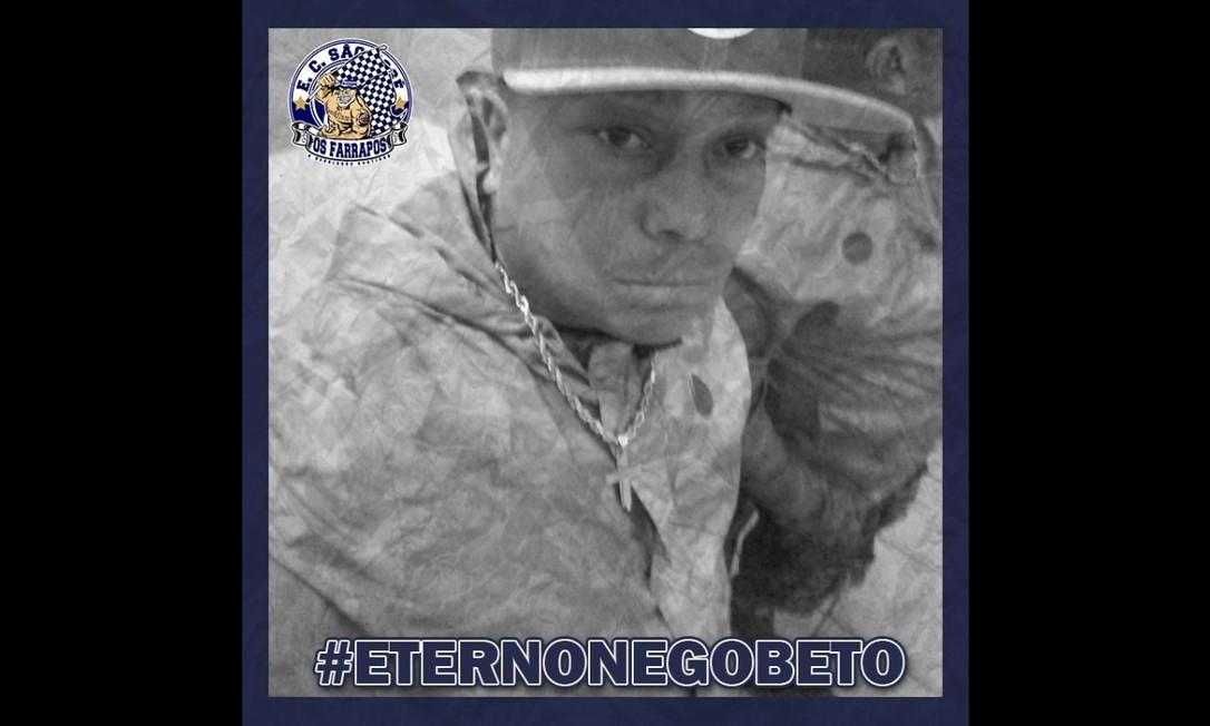 Eterno Nego Beto: homenagem dos amigos de torcida organizada Foto: Reprodução