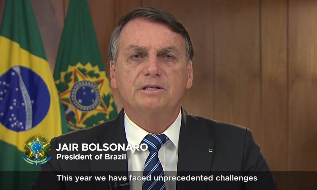 Bolsonaro grava mensagem à cúpela do G20 Foto: G20 / Reprodução