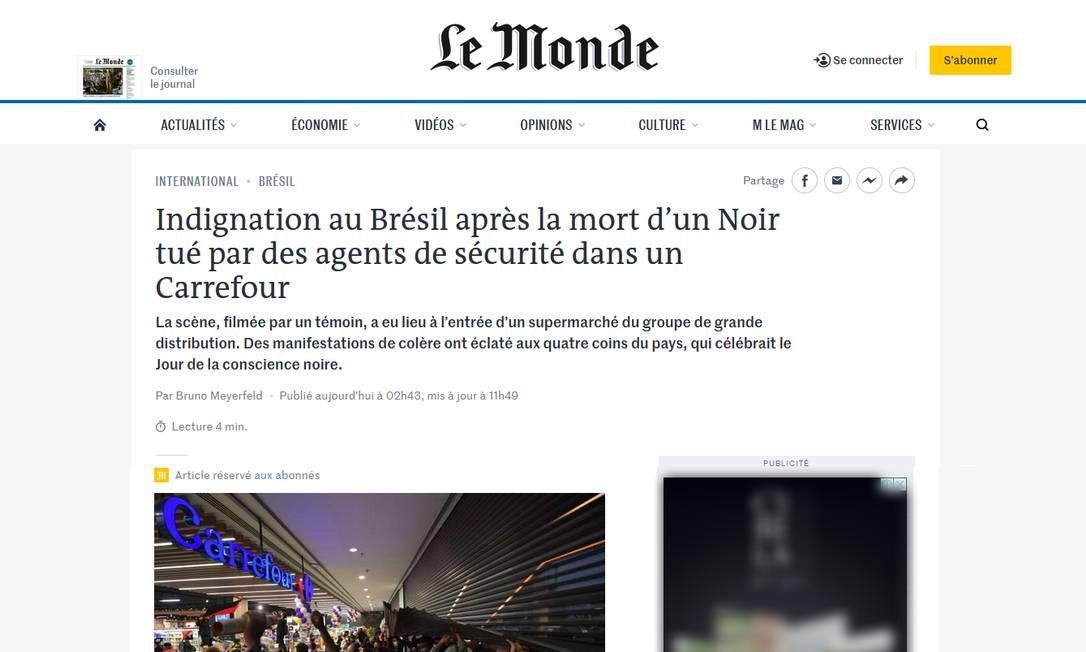 Site do jornal francês Le Monde noticia protestos ocorridos após a morte de João Alberto Silveira Freitas em Porto Alegre Foto: reprodução