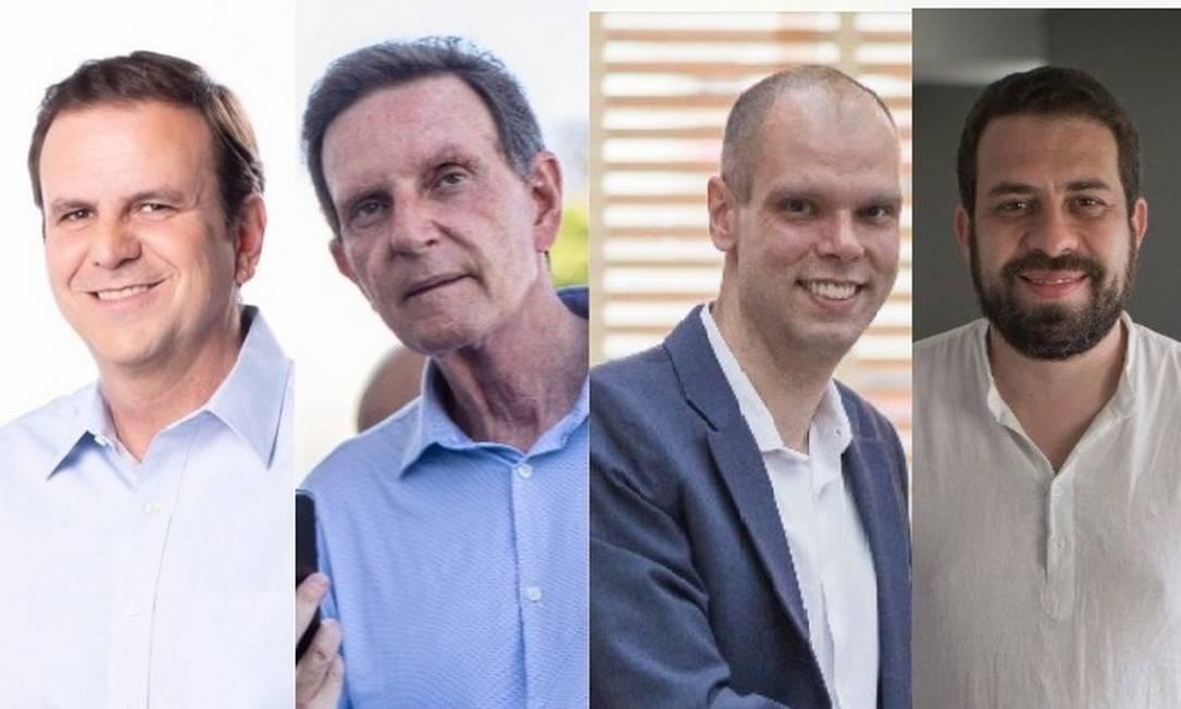 Eduardo Paes (DEM), Marcelo Crivella (Republicanos), Bruno Covas (PSDB) e Guilherme Boulos (PSOL) disputam o 2º turno no Rio e em SP Foto: Reprodução