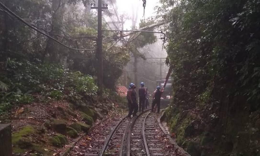 Equipes trabalham na limpeza dos trilhos do Trem do Corcovado atingidos por árvores que caíram Foto: Divulgação