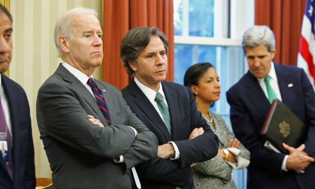 Joe Biden, ao lado de Antony Blinken, da então conselheira de Segurança Nacional Susan Rice e do secretário de Estado, John Kerry, durante visita do premier iraquiano Nuri al-Maliki à Casa Branca Foto: Jonathan Ernst / REUTERS / 1-11-2013
