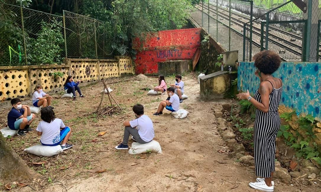 Na escola Oga Mitá aulas presenciais com distanciamento exigido pela pandemia: mensalidades inalteradas para 2021 Foto: Divulgação