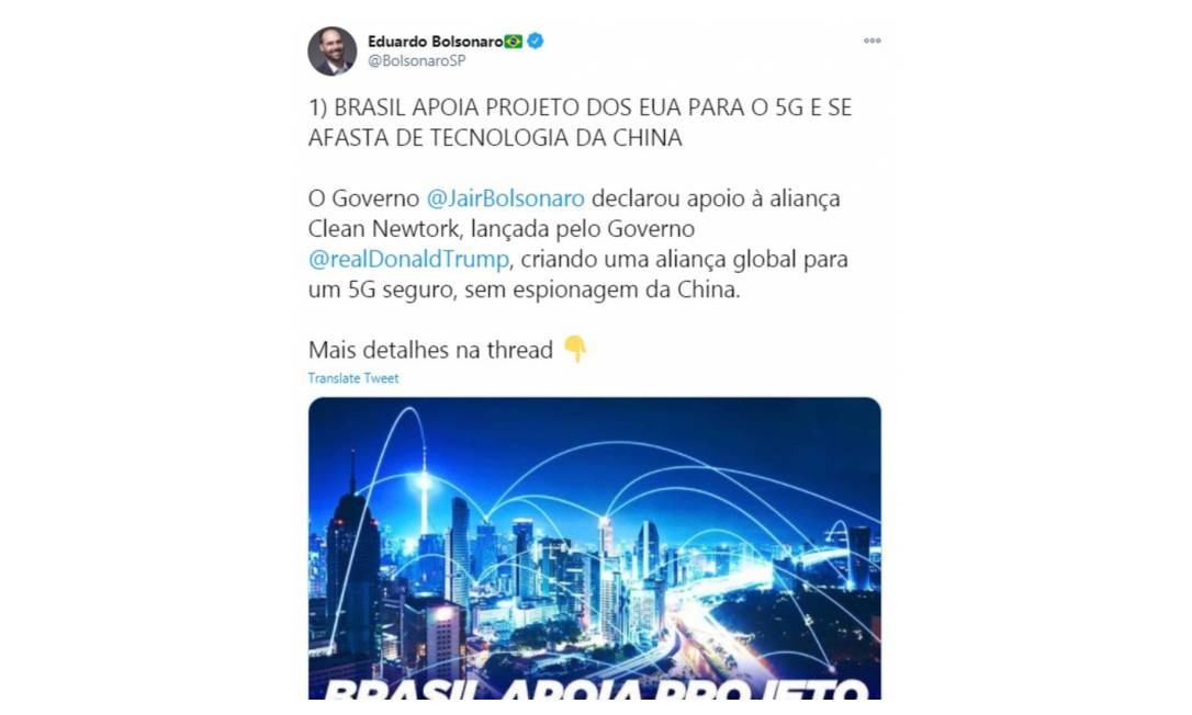 """A suposição sobre espionagem chinesa através da rede 5G gerou mais um impasse diplomático. Em nota, governo chinês advertiu Brasil sobre """"arcar com as consequências negativas [das acusações infundadas] e carregar a responsabilidade histórica de perturbar a normalidade da parceria China-Brasil"""" Foto: Reprodução / Twitter"""