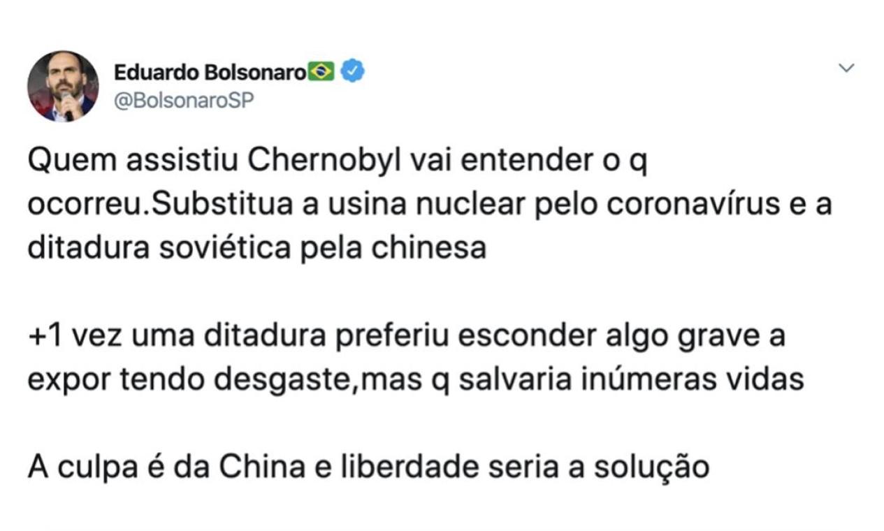 Eduardo Bolsonaro começou a crise diplomática com a China em 18 de março, ao culpar o país pela pandemia Foto: Reprodução / Twitter