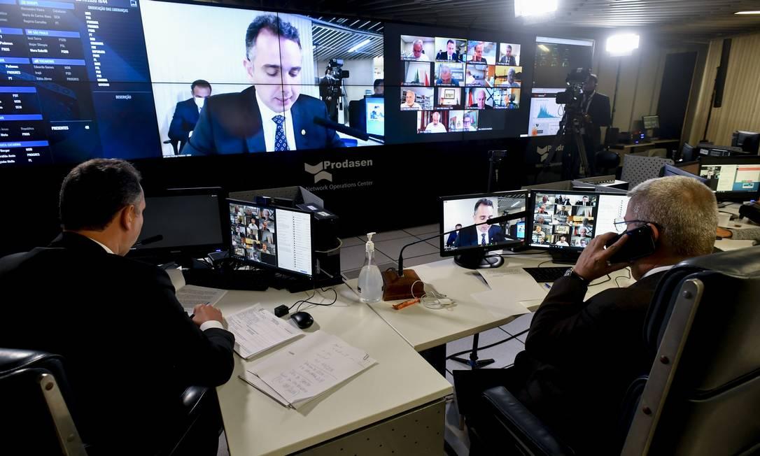 Plenário do Senado em sessão virtual durante pandemia da Covid-19 Foto: Leopoldo Silva / Agência Senado