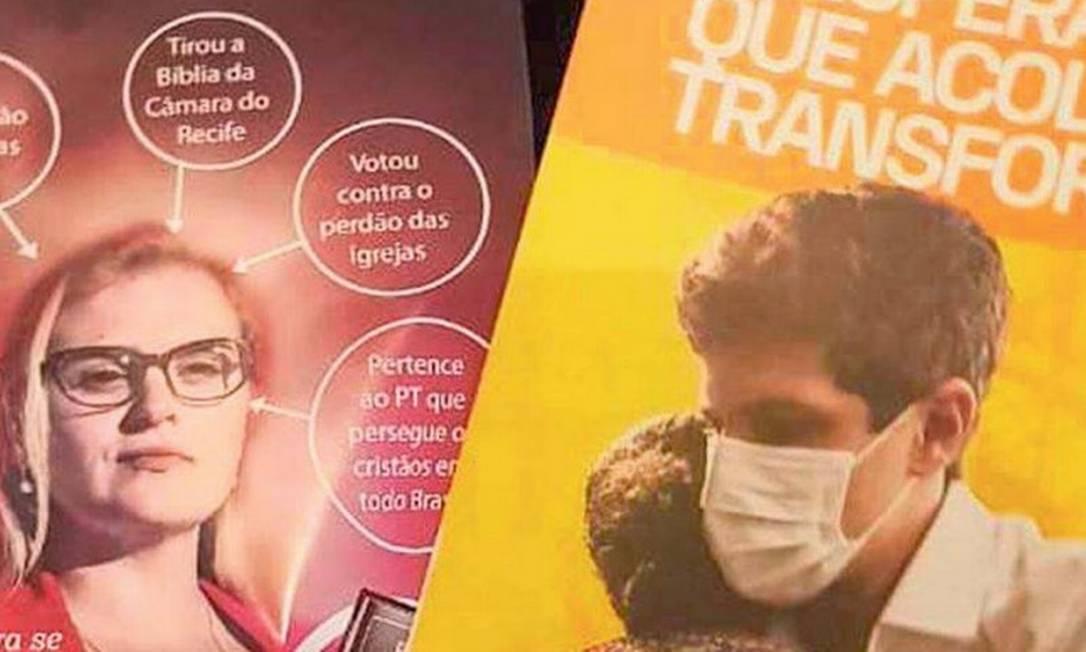 A Justiça determinou que João Campos (PSB) recolhessse o panfleto com imagem da adversária Marília Arraes Foto: Reprodução