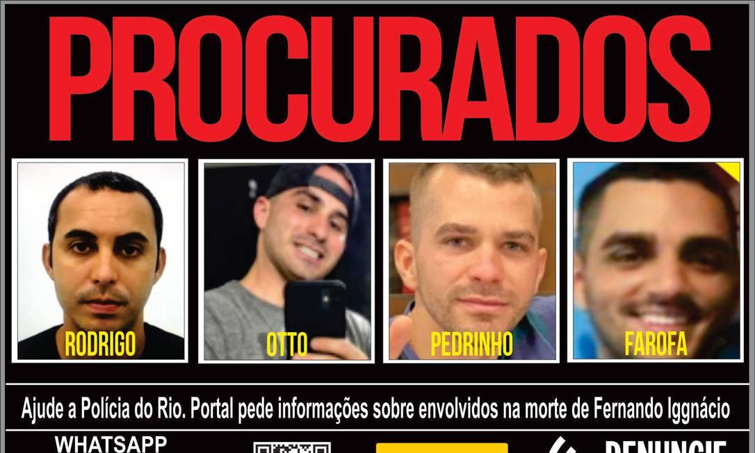 O Portal do Procurados divulgou as fotos dos quatro envolvidos na morte de Fernando Iggnácio Foto: Divulgação