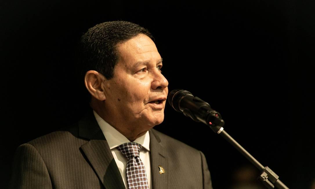 O vice-presidente Hamilton Mourão, durante palestra em Brasília Foto: Romério Cunha/Vice-Presidência/12-11-2020