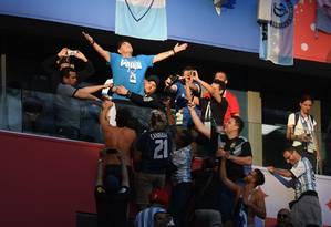 Durante el partido de Argentina en el Mundial de Rusia 2018, Maradona fotografió una de sus actuaciones más dramáticas en el estadio Bleachers de San Petersburgo: Olga Maltseva / AFP.
