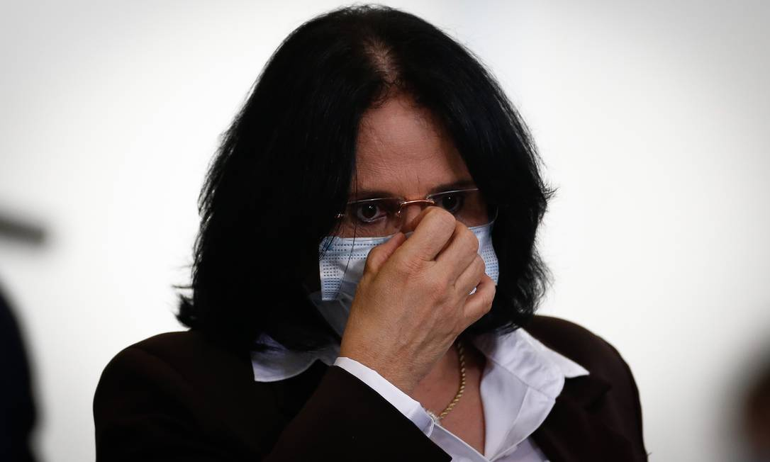 A ministra Damares Alves: pasta desembolsou menos de 1% do previsto para implementação da Casa da Mulher Brasileira Foto: Pablo Jacob/14-10-2020