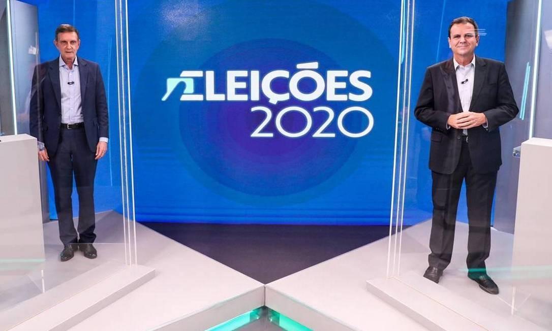 Paes e Crivella participam do último debate antes do segundo turno na TV Globo Foto: Divulgação