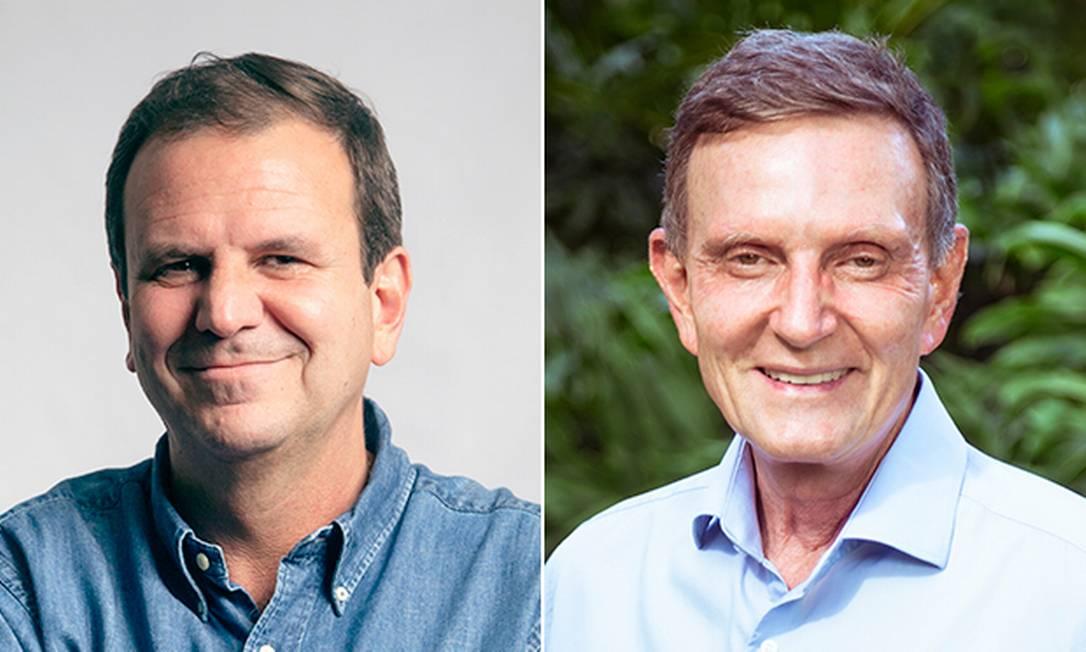 Os candidatos a prefeito do Rio Eduardo Paes (DEM) e Marcelo Crivella (Republicanos) Foto: Editoria de Arte