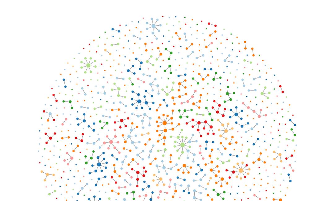 """Mapa virtual de casos de Covid-19 em Hunan (China); pontos indicam casos, cores indicam diferentes cidades e linhas indicam transmissão do vírus Foto: Sun et al./""""Science"""""""