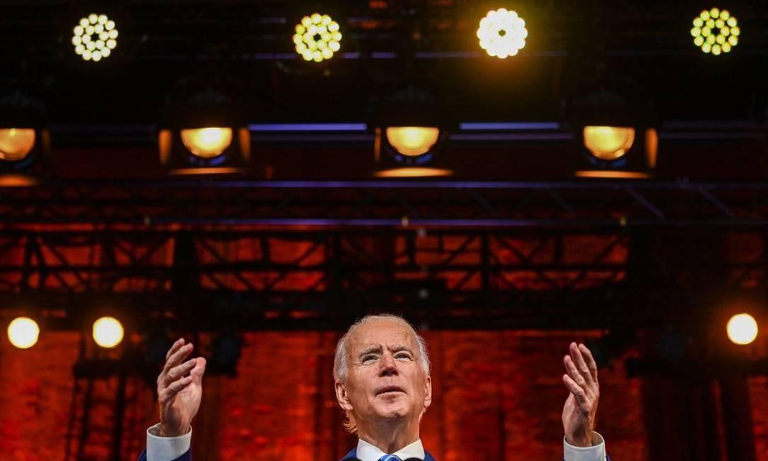 Presidente eleito dos Estados Unidos, Joe Biden, durante discurso de Ação de Graças em Wilmington, Delaware Foto: CHANDAN KHANNA / AFP