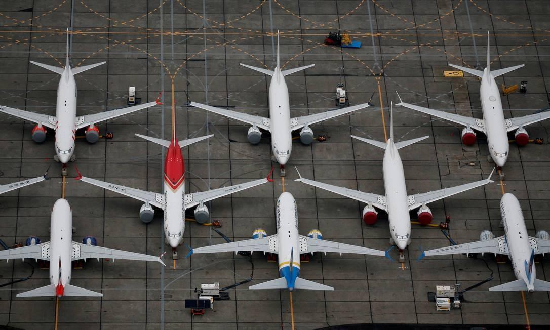 Aviões Boeing 737 MAX estacionados em aeroporto de Washington, nos EUA Foto: Lindsey Wasson / Reuters