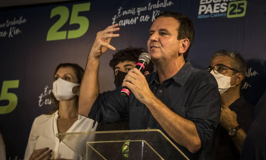 Eduardo Paes discursa após a vitória nas eleições do Rio Foto: Guito Moreto