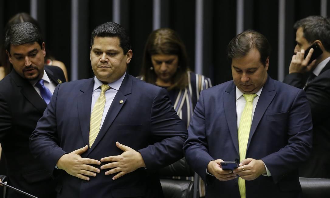 O presidente do Senado, Davi Alcolumbre, e o presidente da Câmara, Rodrigo Maia 28/02/2020 Foto: Jorge William / Agência O Globo