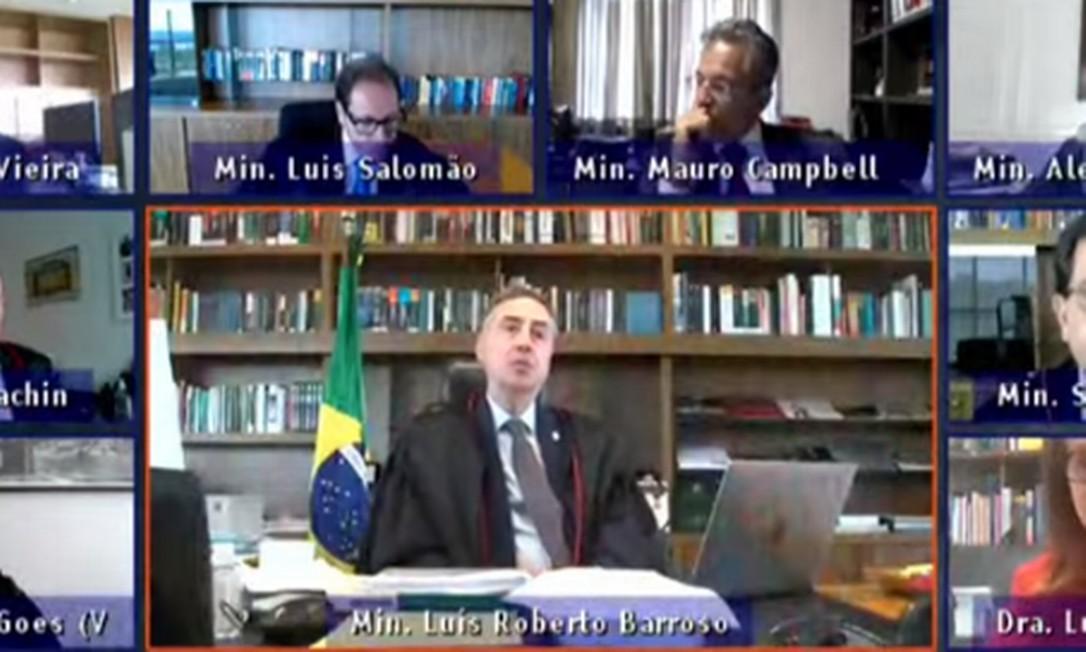 Sessão online do Tribunal Superior Eleitoral (TSE) Foto: Reprodução