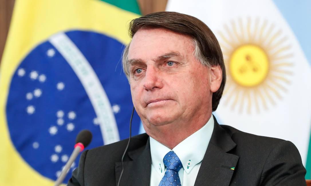 Jair Bolsonaro, presidente do Brasil, participa de reunião com Alberto Fernández, presidente da Argentina Foto: ALAN SANTOS / AFP/30-11-2020