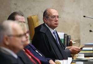 Ministro Gilmar Mendes, relator da ação de reeleição nas presidências da Câmara e do Senado Foto: Ailton de Freitas / Agência O Globo