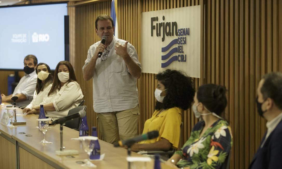 Prefeito eleito no Rio, Eduardo Paes anuncia nomes que farão parte do primeiro escalão do governo em 3 de dezembro de 2020 Foto: Márcia Foletto / Agência O Globo