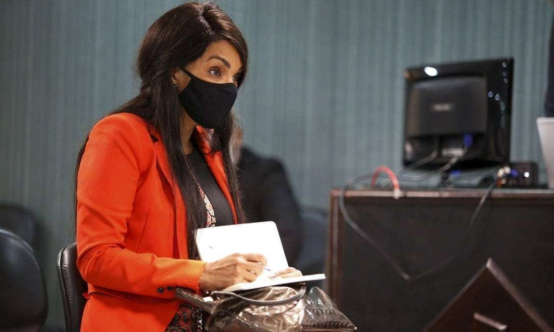 Flordelis durante audiência do caso Foto: Fabiano Rocha/ Agência O Globo