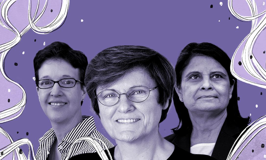 A partir da esquerda, as cientistas Lisa A. Jackson, KatalinKarikó e NitaPatel. As três lideram pesquisas de vacinas contra a Covid-19 Foto: Arte de Gabriela Araújo