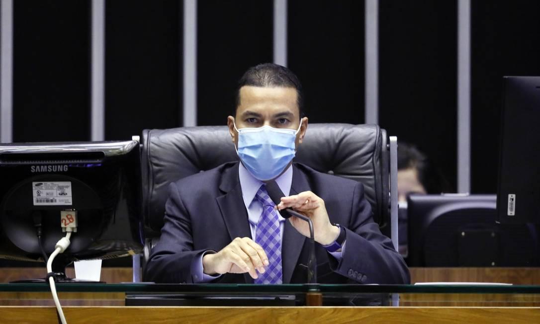 O deputado Marcos Pereira, do Republicanos, em sessão na Câmara Foto: Divulgação / Câmara