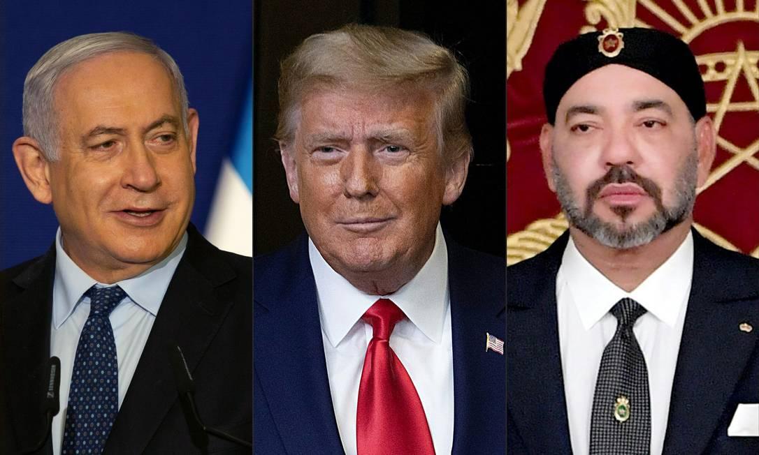 Da esquerda para a direita: o primeiro-ministro israelense, Benjamin Netanyahu, o presidente dos EUA, Donald Trump, e o Rei Mohammed VI do Marrocos Foto: AFP/10-12-2020