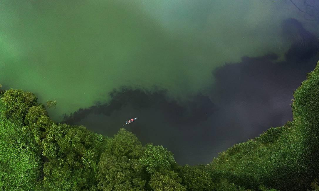 Vista aérea do lago da Represa do Guandu, com águas tomadas pela lama, por gigogas e esgoto, próximo à área de captação Foto: Custodio Coimbra / Agência O Globo - 15/01/2020