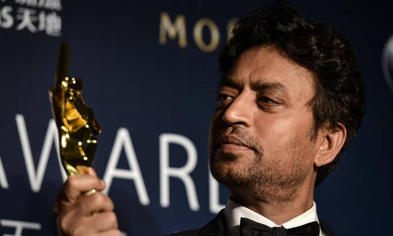 Irrfan Khan, ator indiano famoso por 'Quem quer ser um milionário?' e 'As aventuras de Pi', morreu aos 53 anos, em 29 de abril. Ele foi acometido por um câncer raro Foto: PHILIPPE LOPEZ / AFP
