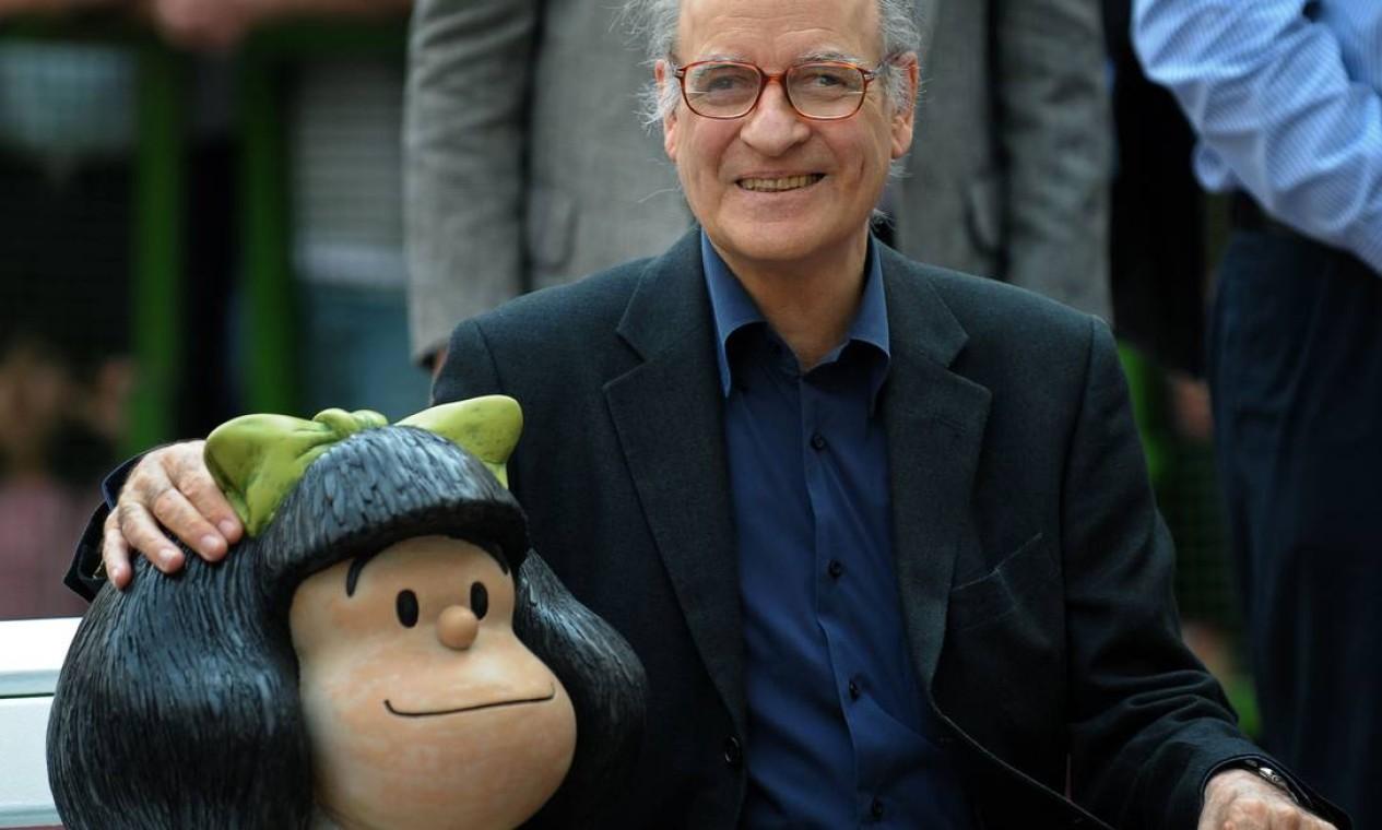 Quino, cartunista argentino criador da Mafalda, morreu no dia 30 de setembro, aos 88 anos, por conta de um derrame Foto: ALEJANDRO PAGNI / AFP