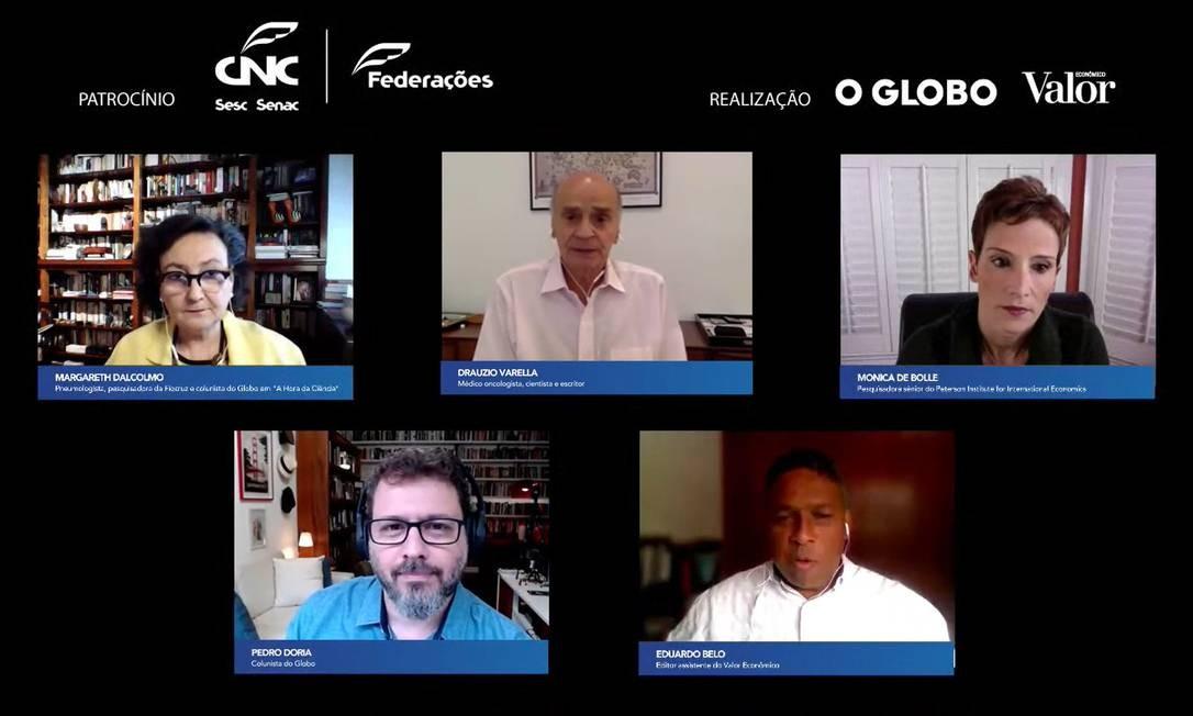 Evento 'E Agora, Brasil?' teve a participação da economista Monica de Bolle e dos médicos Margareth Dalcolmo e Drauzio Varella Foto: Picasa / Agência O Globo