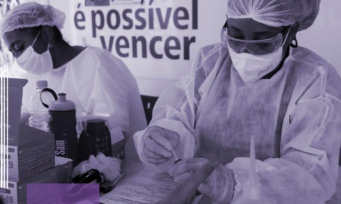 Profissionais da saúde realizam testes rápidos de Covid-19 Foto: Fabiano Rocha/Agência O Globo