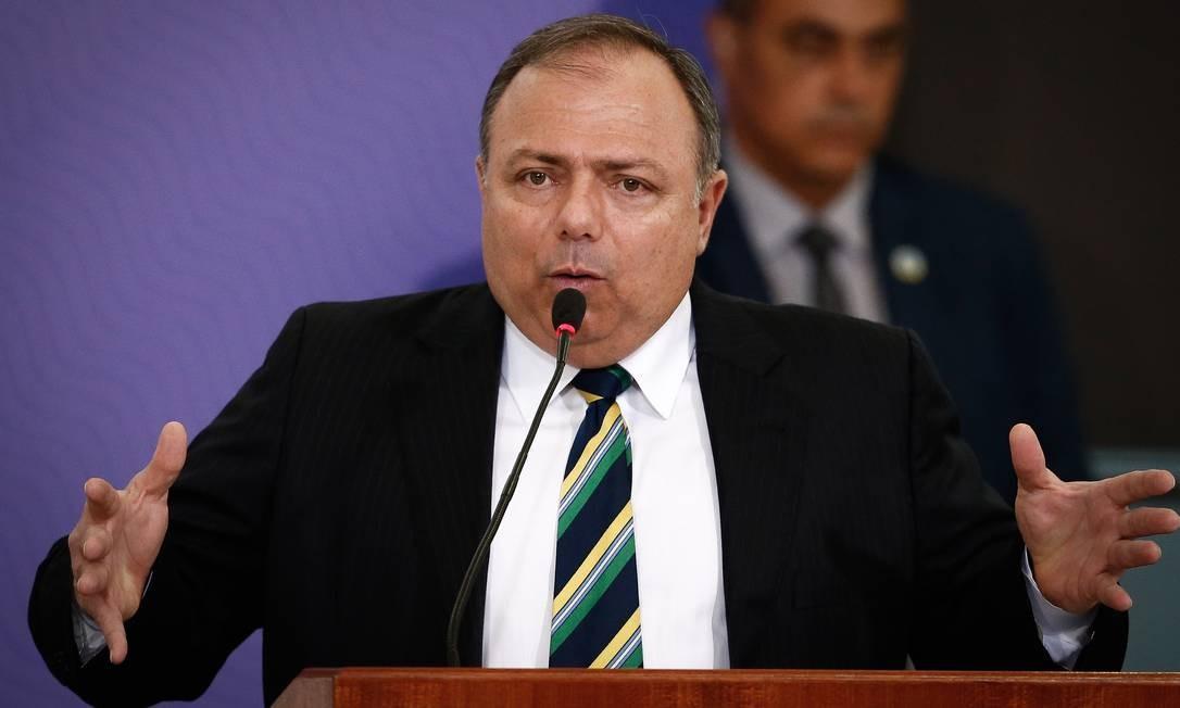 O ministro da Saúde, Eduardo Pazuello, durante lançamento do Plano Nacional de Imunização Foto: Pablo Jacob / Agência O Globo