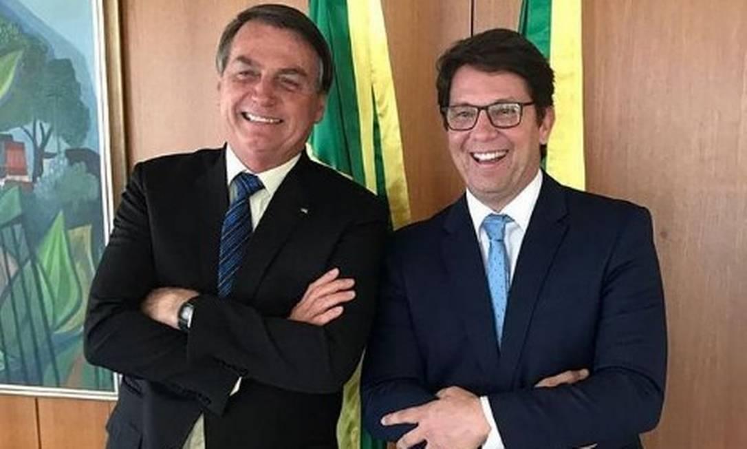 Registro de Mario Frias com Bolsonaro, postado pelo secretário em 1º de setembro Foto: Reprodução