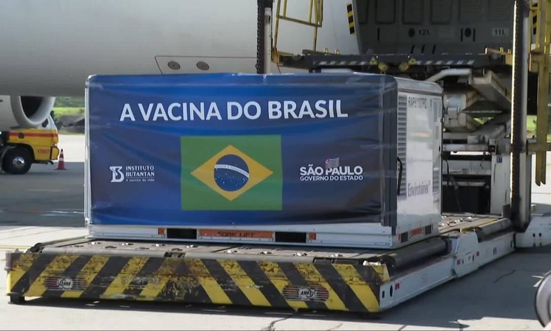 Vacina Coronavac chega ao Brasil Foto: Reprodução/TV Globo