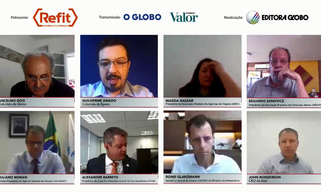 """Participantes da live """"Os impactos dos custos do combustível de aviação no turismo e na economia do país"""" Foto: Reprodução"""